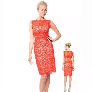 Sheer Chantilly Lace Paprika Red Sheath Dress